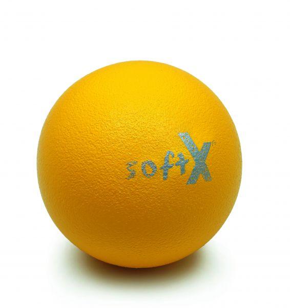softX® Schaumstoffball mit Haut, gelb, 21 cm