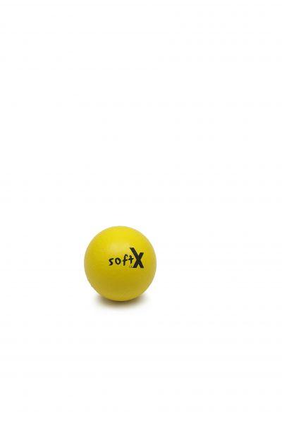 softX® Schaumstoffball mit Haut, gelb, 8 cm