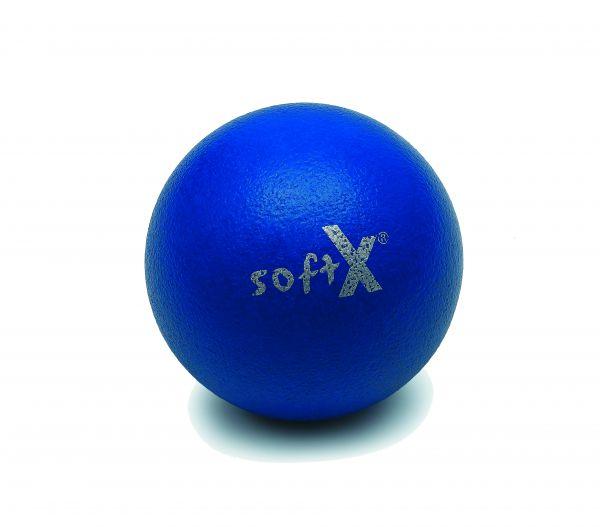 softX® Schaumstoffball mit Haut, blau, 18 cm